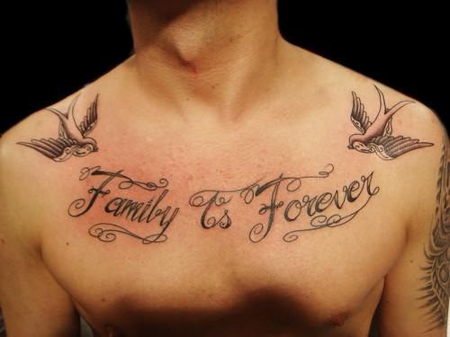 Family is forever lettering tattoo Miguel Angel Custom Tattoo Artist