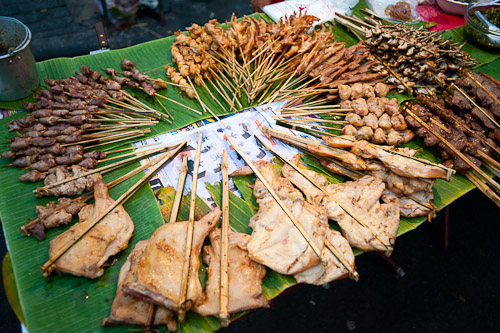 Grilled meats at Vientiane's Pha That Luang Evening Market, Laos
