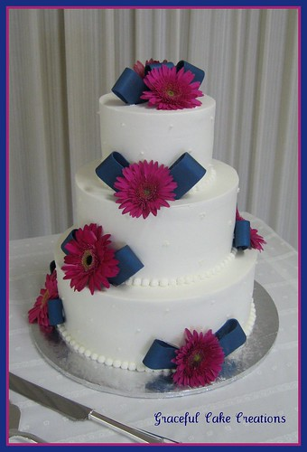 Navy Blue and Pink Wedding cake - a photo on Flickriver
