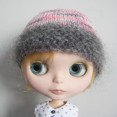 PINK GRAY MOHAIR hat