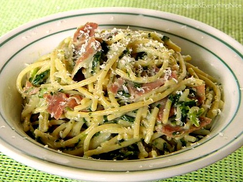 Lemon Pasta with Mascarpone, Prosciutto di Parma & Spinach