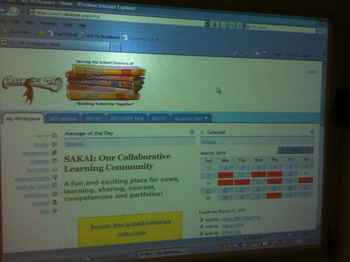 Sakai ePortfolio system at Deerfield: Opening Screen
