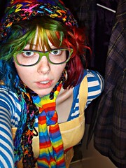 Clavicle (Megan is me...) Tags: blue original red portrait orange reflection green apple colors fashion rose self hair photography grey glasses mirror amazing cool mixed eyes colorful neon pretty ray colours russell mckay candy bright turquoise unique oneofakind ooak awesome meg violet plum makeup megan style flame curly iguana jerome mandarin colored redlips curled dye ban limelight curlyhair wavy mayhem punky dyed napalm specialeffects sfx raybans rosered megface bluehairedfreak meganisme meganyourface