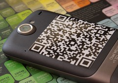 QR code on phone exterior