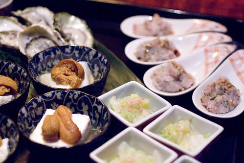 Kumamoto, Uni Tofu, Hamachi Tartare, cabbage salad