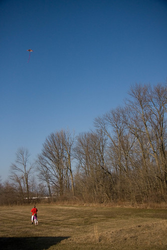 flying a kite.