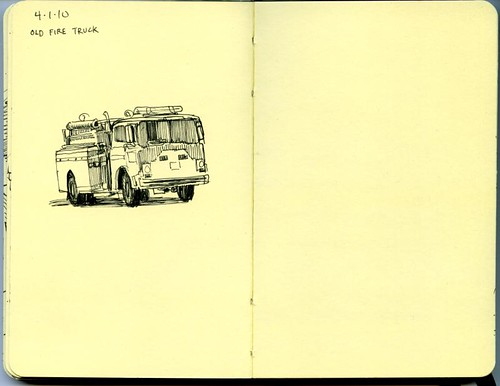 lunchtime sketch of an old fire truck on san pedro ave