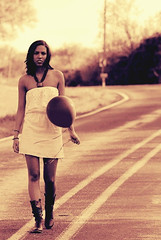 (Freckles Photography) Tags: road sunset portrait woman nature senior girl beautiful sepia spring nikon sweet candid country balloon tint bold d80 nikond80