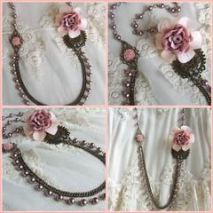 Vintage Love...necklace XXV...j foi:) (mi-nuxa) Tags: pink flowers flores metal vintage necklace handmade rosa pearls colar prolas encomendas antiquegold primaveravero vintagelovecollection