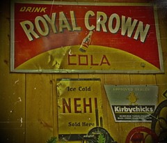 Vintage Cola (SCOTTS WORLD) Tags: red signs yellow vintage fun march bottle fuji cola drink antique michigan pop adventure finepix 2010 pasttense royalcrown lapeer brandnames nehi digitalshot