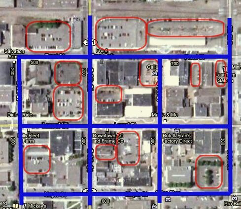 parking lots in central Brainerd, MN (marked by Charles Marohn)