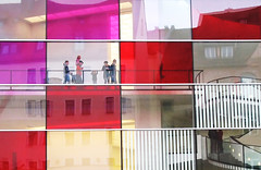 Window Patchwork - New Museum Nuremberg, Germany (Batikart) Tags: museum neuesmuseum newmuseum art kunst design building gebude haus architecture architektur glas glass facade fassade spiegelung reflection patchwork window fenster downtown urlaub vacation holiday vacanze travel himmel sky blau blue rot red weiss white lila purple pink stadt city cityscape urban volkerstaab family herbst autumn fall europa europe deutschland germany bayern bavaria franken franconia nrnberg nuremberg geotagged viewonblack canon canonpowershota610 batikart 2009 50faves 100faves house stair geometry mosaic mosaik stripe 200faves square floor pattern 300faves