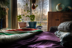 Natural Light (Billy Wilson Photography) Tags: flowers plants house ontario canada digital canon eos rebel spring bed globe interior kitlens naturallight sheets pillows pillow pot pots domestic april curtains xs blankets dresser hdr highdynamicrange saultstemarie houseplants algoma softtones hudsonbayblanket tonemapped billywilson
