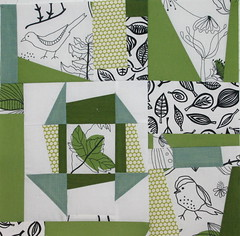 For Krista-Wonky Liberated Churn Dash Love-April Block (myfullcolorlife - Vickie) Tags: blue green leaves birds square quilt cut bee polkadots wonky fussy liberated fussycut thefussycutlovebee wonkychurndash
