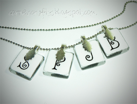 silhouette necklace charm pendant  glass tile scrabble custom personalized etsy initials back