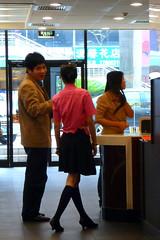 Mcdonalds new uniform Bao'an  Shenzhen China (dcmaster) Tags: china new hot cute college girl socks asian uniform long chinese skirt mcdonalds staff guangdong shenzhen baoan