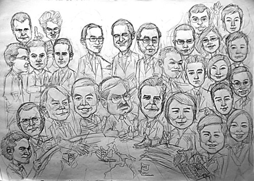 Group caricatures for Morgan Stanley A2 - pencil sketch
