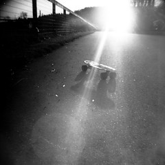 Fiber Flex Diana (GarrettRiffal) Tags: road old school sunset shadow bw sun white black blur set blackwhite alone board wheels delta banana 400 skate skateboard 100 flex fiber rodinal vignette gummy 400iso