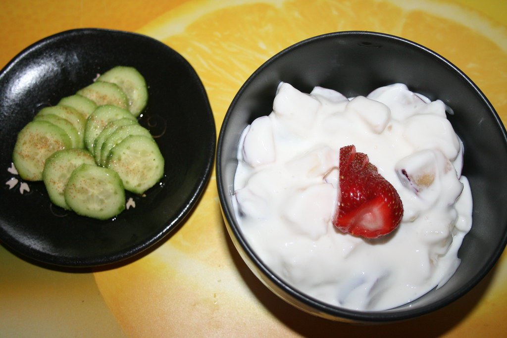 Persian cuke salad and Salad of Pear, Plum and Geek Yogurt
