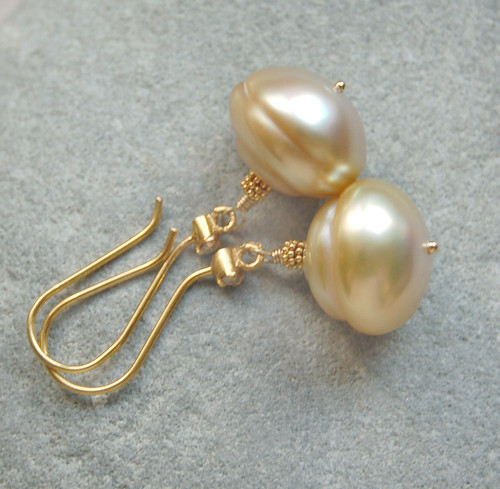 Maluku Earrings - Solid 18K Gold Diamond Champagne South Sea Pearls