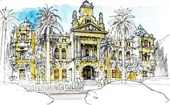 Mlaga, city hall (Luis_Ruiz) Tags: architecture sketch spain cityhall drawing andalucia andalusia dibujo malaga mlaga ayuntamiento urbansketchers