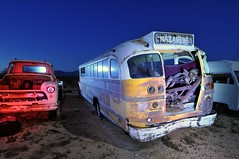 (picturenarrative) Tags: auto california usa lightpainting bus abandoned monument car night truck stars death ruins decay urbanexploration americana moonlight junkyard recycle derelict boneyard startrails mojavedesert urbex highway395 nocturnes uer pearsonville automobilies