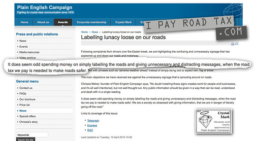 Plain English Campaing 'road tax' error
