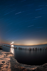 K7__0001 (Bob West) Tags: longexposure nightphotography winter ontario night lakeerie greatlakes moonrise nightshots startrails k7 southwestontario bobwest pentax1017fisheye