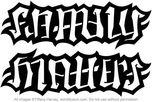 Family Matters Ambigram Tattoo