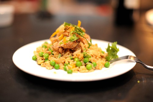 Braised Chicken with Rice, Saffron, Orange & Pistachios