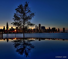 Blue in Chicago (Andrew E. Larsen) Tags: chicago night papalars andrewelarsen