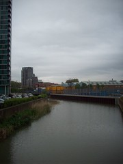 Marshgate Lane - South Over The River Lea (Andy Wilkes) Tags: london andy river site construction view stadium centre tube may andrew arena lea inside olympic build handball velodrome 2012 2010 wilkes aquatics londonist marshgate insidelondon2012