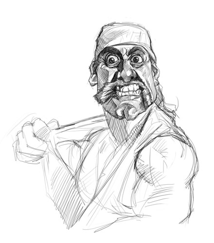 digital sketch of Hulk Hogan - 3