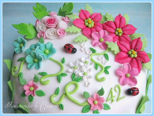 Close-up Spring Flowers Cake