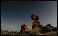 Balanced Trails (Nathan Van Arsdale) Tags: red sky rock night star heaven arch nathan trails arches balance redrock archesnationalpark balanced celestial startrails navan balancedrock navandale nathanvanarsdale balancedtrails
