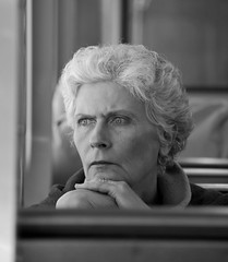 Lost in Thought - Chicago, IL (homiga) Tags: portrait people blackandwhite woman chicago train photo illinois cta publictransportation candid el chicagoillinois facesofportraits