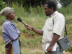 Gathering material for radio programming on HIV/AIDS in Malawi