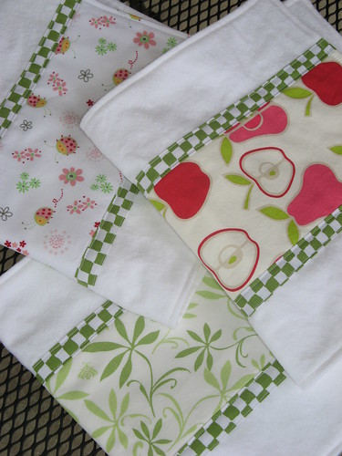 Burp Cloths- Pink and Green