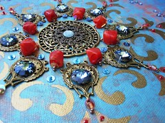 For you blue - detail (Magical Mystery Tuca) Tags: handmade originalpainting mandala psychedelic sequins homedecor thebeatles seedbeads beadembroidery lampworkbeads handembroidery filigrees octagoncrystals
