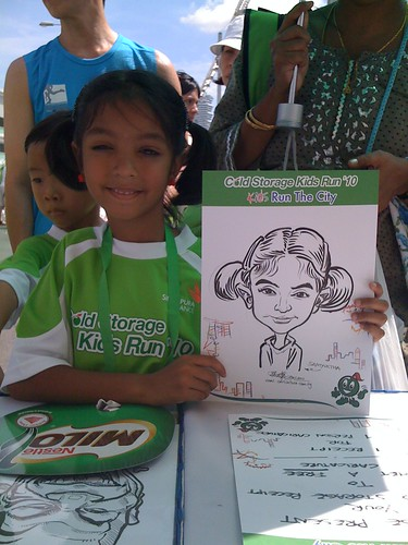 caricature live sketching for Cold Storage Kids Run 2010 - 19