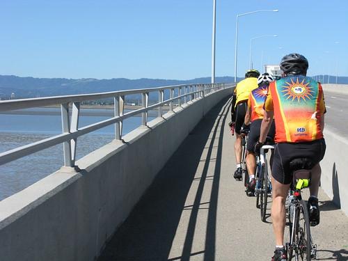 Greg, Rich and Len Cross the Dumbarton Bridge towards Palo Alto