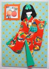 ATC314 - Momo (tengds) Tags: red orange green fruits atc doll frame kimono obi origamipaper papercraft japanesepaper washi ningyo handmadedoll handmadecard chiyogami scrappaper hairbow yuzenwashi japanesepaperdoll washidoll origamidoll tengds reusedcard