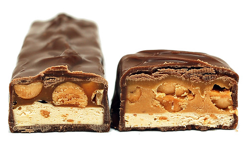 Snickers Peanut Butter Squared cross section
