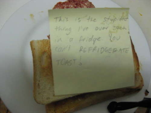 This is the stupidest thing I've ever seen in a fridge. You can't REFRIDGERATE [sic] TOAST!