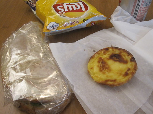 Egg sandwich and natas from Cartet ($6), chips and soda from machine ($2.50)