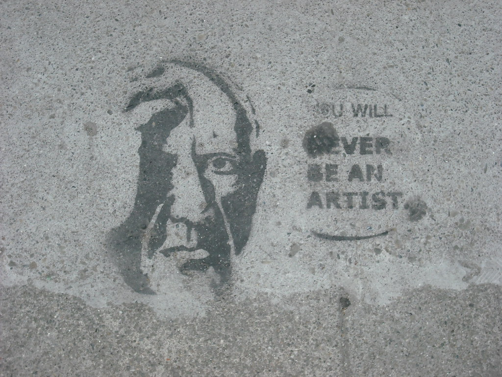 """you will never be an artist"" stencil - Oakland, Ca"