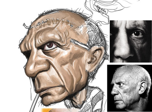 digital caricature of Pablo Picasso - 1 small