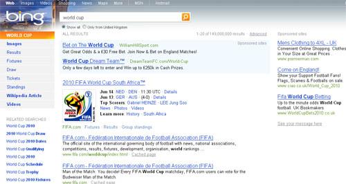 Bing World Cup SERP