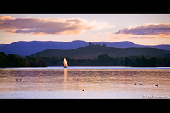 Canberra Sunset (-yury-) Tags: sunset sky lake mountains water clouds landscape australia canberra act burleygriffin