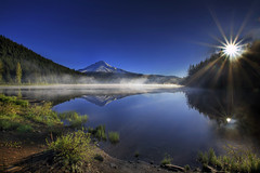 Sunrise at Trillium Lake, Oregon 3 - HDR (David Gn Photography) Tags: mountain reflection nature fog oregon sunrise landscape scenic bluesky wilderness mounthood hdr sunflare trilliumlake noclouds flickraward canoneos7d sigma1020mmf35exdchsm mygearandmepremium sigma50th